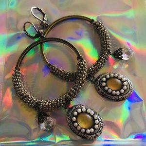 Bohemian gypsy glam doll hoop earrings Betsey j